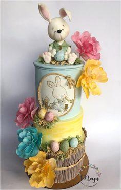 Easter cake - cake by Branka Vukcevic - Cakes - Fondant Cake Designs, Fondant Cakes, Cupcake Cakes, Easter Cake Fondant, Sweets Cake, Fancy Cakes, Cute Cakes, Rabbit Cake, Spring Cake