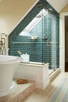 Attic Bathroom, Over 50 Different  Attic Design Ideas. http://www.pinterest.com/njestates1/attic-design-ideas/ … Thanks To http://www.NJEstates.net/