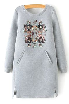 To find out about the Grey Round Neck Floral Pockets Split Dress at SHEIN, part of our latest Sweatshirts ready to shop online today! Modelos Plus Size, Trendy Fashion, Womens Fashion, Sport Chic, Mode Hijab, Sweatshirt Dress, Mode Inspiration, Gray Dress, Hijab Fashion