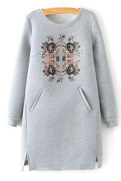 Floral Scoop Neck Long Sleeve Dress