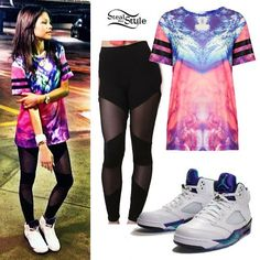 Zendaya: Cloud Tee, Grape Jordans