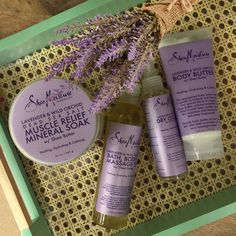 Create a spa-quality bath experience with SheaMoisture's aromatherapeutic Lavender & Wild Orchid collection.