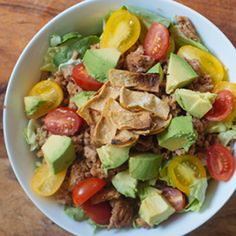 The classic taco salad gets a makeover. So much healthier than what you would get from take out.  This is a great quick,easy and healthy recipe that the entire family will love. For more quick, easy and healthy recipes for the entire family, download my Free recipes by clicking the link.  http://www.healthyandhappyme.com/taco-salad #quickeasyhealthytacosalad #recipesfortheentirefamily #healthyrecipefortheentirefamily