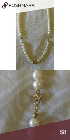 Pearls and rhinestone necklace Beautiful faux pearls and rhinestone necklace Jewelry Earrings
