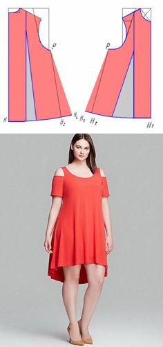 El vestido-trapecio: el patrón con la manga, veraniego, para completo, para la muchacha y la barca // Ольга Уварова Fashion Sewing, Curvy Fashion, Plus Size Fashion, Sewing Clothes Women, Diy Clothes, Clothes For Women, Dress Making Patterns, Skirt Patterns, Latest African Fashion Dresses