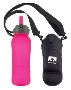 Nathan Neoprene Sling Water Bottle Carrier Insulated Cover Bag Holder Adjustable Strap Travel with Zippered Pocket (Black) with BPA-free and No-Taste 700 ml Tritan Bottle with Flip Straw, Pink.