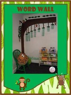 Word Wall Jungle Theme by Innovative Teacher Kindergarten Literacy, Literacy Centers, Teaching Phonics, Vocabulary Activities, Learning Activities, Teacher Resources, School Resources, Classroom Resources, Classroom Decor