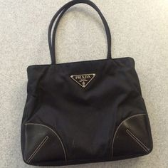 prada nylon and leather tote