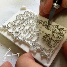 商品を入れる袋に捺すはんこも、久しぶりに新たに作りましたよ。(手捺しのため、あまり数も作れなかったので、限定数になってしまいました。)上の写真は、荒彫りが...