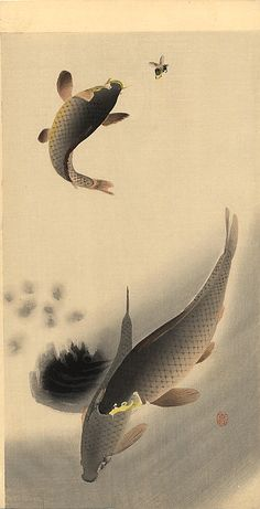 Artist: Ohara Koson        Completion Date: c.1910    Place of Creation:  Japan      Style:  Shin-hanga        Genre:  wildlife painting        Technique:  woodblock print        Material:  paper        Gallery:  Pasadena Museum of California, Pasadena, California, USA        Tags:    fish, insects, bees, carps