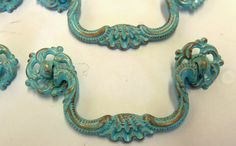 FREE SHIPPING 6 Drawer Pulls  Aqua Turquoise Ocean Blue Distressed with Copper Made to Order More Colors Quantity Available 3.5 Inch Centers