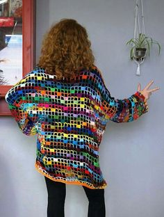 Baggy colorful openwork sweater tunic crochet handmade by FreezaDesign on Etsy Crochet Square Patterns, Crochet Patterns Amigurumi, Crochet Designs, Crochet Stitches, Diy Crochet, Crochet Top, Crochet Hats, Crochet Jacket, Crochet Cardigan
