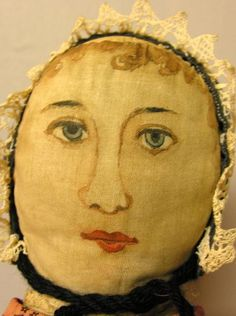 "PRIMITIVE CLOTH DOLL, 20"". Stuffed cotton head, one : Lot 92"
