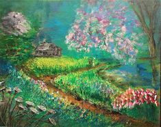 Landscape Painting - Cottage In The Field by Elena Ivanova Fairytale Cottage, Forest Flowers, Forest Painting, Spring Landscape, Painted Cottage, Spring Photos, Landscape Artwork, Russian Art