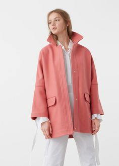 Abrigo cocoon lana - Abrigos de Mujer | MANGO España