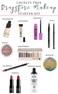 Cruelty Free Drugstore Makeup Starter Kit - There are so many brands out there that it can be overwhelming to know where to start, so I wanted to create a beginner's guide to cruelty free drugstore makeup. Here's everything you need to start your collection! #crueltyfree #beginnermakeup #drugstoremakeup