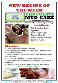 Ideal Protein Tips and Recipes from Incredible Weight Loss Center - Page 3 - 3 Fat Chicks on a Diet Weight Loss Community Ideal Protein Diet (weight watchers mug cakes) Protein Desserts, Protein Mug Cakes, Protein Foods, No Carb Recipes, Mug Recipes, Healthy Recipes, Protein Recipes, Steak Recipes, Eating Clean