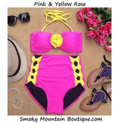 Pink and Yellow Rose High Waist Swimsuit Pink by SmokyMtnBoutique, $44.95
