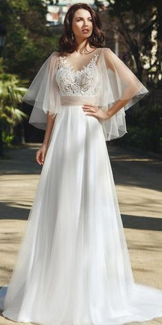 a2bbd3ecf Fashionable Tulle Jewel Neckline See-through Bodice A-Line Wedding Dress  With Beaded Lace
