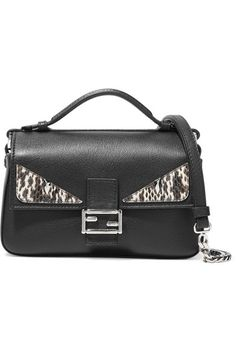 Fendi - Double Baguette Micro Elaphe-trimmed Leather Shoulder Bag - Black b8feeb9c89977