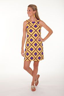 the game, purple, fans, sleeveless shift, shift dresses, game day dresses, traci negoshian, geaux tigers, dresspurpl yellow