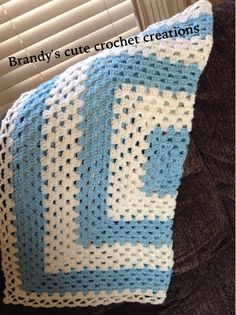 Crochet Pastel blue and white striped baby blanket To order or see more items please visit https://www.facebook.com/Brandyscutecrochetcreation?ref=bookmarks