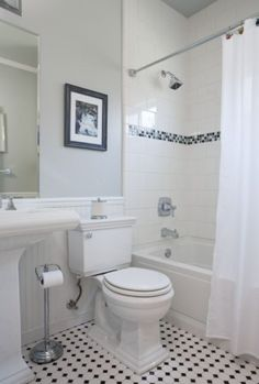 white subway tiles with pop of color    http://www.houzz.com/photos/363913/vintage-bathroom-traditional-bathroom-san-francisco