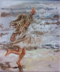 """ GOOD NEWS "" SEA original painting palette knife GIFT ANGEL MODERN URBAN ART OFFICE ART DECOR HOME DECOR GIFT IDEA by Monika Luniak"