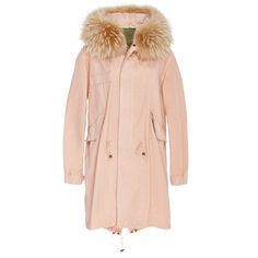 Mr & Mrs Italy Racoon Trimmed Unlined New Marble Canvas Parka ($2,090) ❤ liked on Polyvore featuring outerwear, coats, parka coat, cream coat, pink parka, lightweight coat and pink coat
