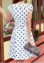 Stylish Women's V-Neck Polka Dot Short Sleeve Dress (WHITE,M) | Sammydress.com Mobile