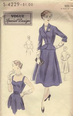 1950s Vogue Special Design Sewing Pattern by AdeleBeeAnnPatterns, $26.00