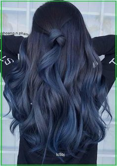 Blue Ombre Hair, Hair Color Purple, Hair Dye Colors, Hair Color For Black Hair, Cool Hair Color, Blue To Black Hair, Blue Hair Dyes, Gray Hair, Raven Hair Color