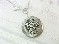 Silver Celtic Locket Necklace - Celtic Knot Keepsake