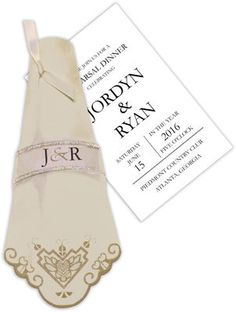Antique Linen Napkin Die-Cut Invitations