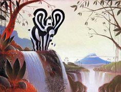 """Tableau éléphant de Vincent Dufour intitulé """"Titou automne"""" Pastel sec 40/55cm [tableau chambre bébé enfant - Le monde de Titou]"""