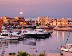 The marina at night in El Gouna Egypt