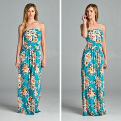 Only 2 Left!  1 Small and 1 Med (Fits True to Size) Spring in Maui Strapless Maxi Dress (Turquoise) - Reg $39.  Use code TTB2 tonight only for 25% off for our anniversary sale!
