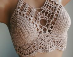 Crochet bikini top bustier crochet crop by WomensScarvesTrend