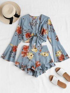 Bell Sleeve Floral Tie Front Matching Set - Baby Blue S Cute Comfy Outfits, Cute Girl Outfits, Teen Fashion Outfits, Cute Fashion, Look Fashion, Trendy Outfits, Girl Fashion, Fashion Sets, Mode Rockabilly