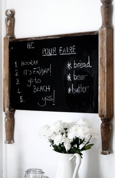 WhisperWood Cottage: AUTHENTIC STYLE SERIES...love this foot-board re-purposed into a chalkboard!