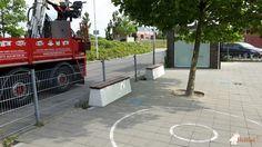 Betonbank DeLuxe bij OBS Groenehoek, locatie Groeneweg (schoolplein is het beste te bereiken via de Rietveldstraat!) in Bergschenhoek