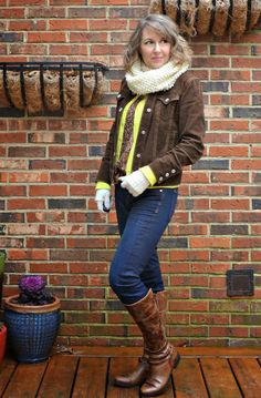 sequins, layers, corduroy, winter scarf and gloves