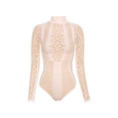 'Ayanna' Blush Lycra Knit Cut Out Bodysuit ❤ liked on Polyvore featuring intimates, shapewear and bodysuit