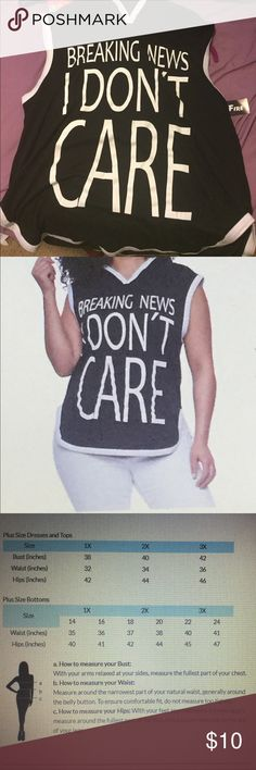 Hooded Breaking News I Don't Care Graphic Top Plus Size but runs a little smaller than average Plus Size wear. Rainbow Tops Sweatshirts & Hoodies