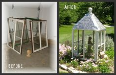 Reusing old windows.four old windows create a garden focal point. Reusing old windows. Window Greenhouse, Greenhouse Plans, Small Greenhouse, Portable Greenhouse, Backyard Greenhouse, Pallet Greenhouse, Greenhouse Wedding, Recycled Windows, Old Windows