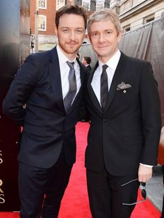 James McAvoy and Martin Freeman on the Laurence Olivier Awards 2014 red carpet