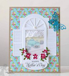 handmade card /// ShellyMothersDayFri2 ... sweet window card ... luv the die cut window with shutters and flower box ... tea ready on the table behind the vellum window pane ... delightful!!