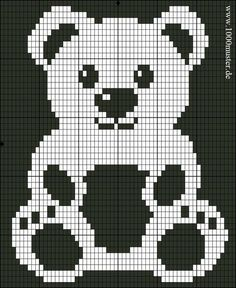 Free Filet Crochet Charts and Patterns: Filet Crochet Bear - Chart A Baby Knitting Patterns, Knitting Charts, Knitting Designs, Baby Patterns, Hand Knitting, Crochet Patterns, Blanket Patterns, Crochet Teddy, Crochet Bear