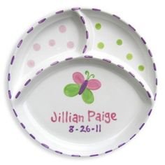 """How cute is this personalized ceramic plate? Hand-painted in the USA - 8"""" in diameter. $35.99 #babygift, #gift"""