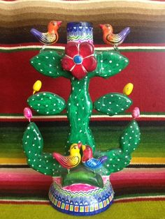 Vintage Mexican Tree of Life Candle Holder Folk Art from Mexico   eBay